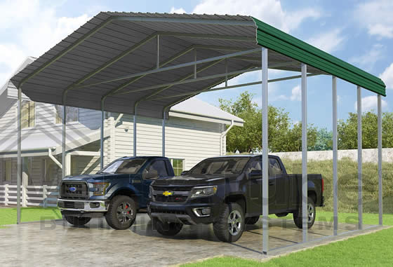 Versatube 24x20x12 Carport - Shown in Green Color