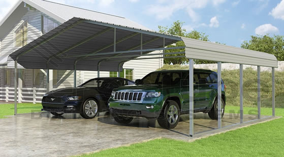 Versatube 24x20x7 Carport - Shown in Gray Color