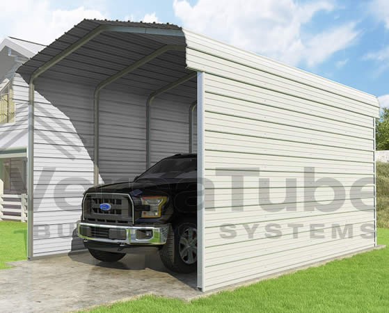 Versatube 2-Sided 12x20x10 Carport - Shown in White Color