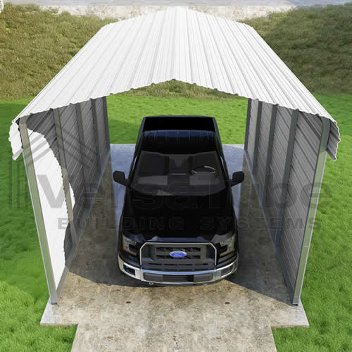 Versatube 2-Sided 12x20x10 Carport - Easy Drive Thru Access