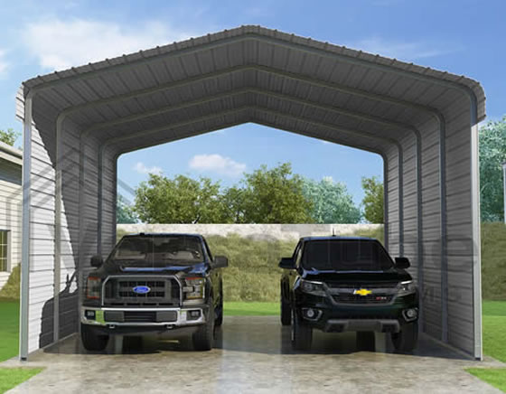 Versatube 2-Sided 20x20x12 Steel Carport Kit - 2 Covered Sides With Easy Drive In and Exit Access