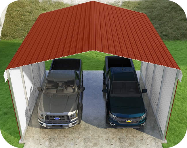 VersaTube 2-Sided 20x20x12 Classic Steel Carport Kit