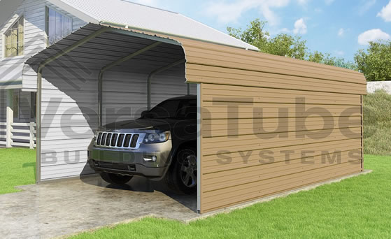 Versatube 3-Sided 12x20x7 Carport in Tan Color