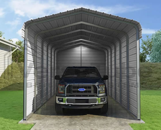 Versatube 3-Sided 12x29x10 Steel Carport Kit - 3 Covered Sides For The Ultimate Protection!