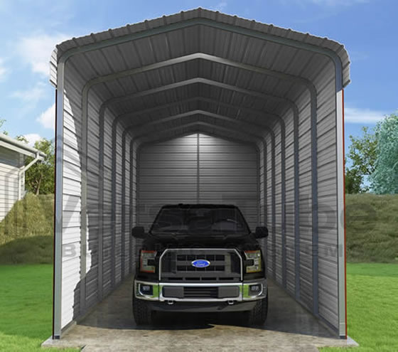 Versatube 3-Sided 12x29x12 Steel Carport Kit - 3 Covered Sides For The Ultimate Protection!