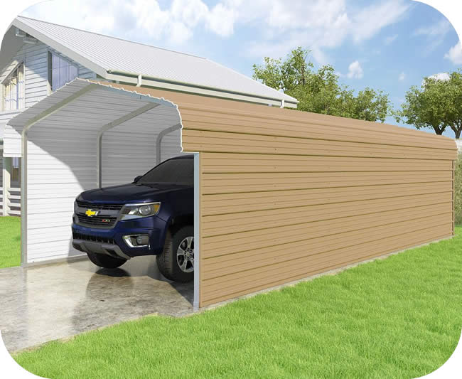 VersaTube 3-Sided 12x29x7 Classic Steel Carport Kit