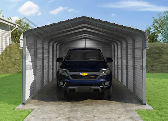 Versatube 3-Sided 12x20x10 Steel Carport Kit - Shown in Charcoal Color