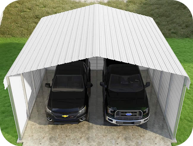 VersaTube 3-Sided 20x20x10 Classic Steel Carport Kit