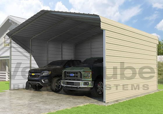 Versatube 3-Sided 20x20x10 Carport - Shown in Tan Color
