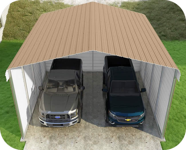 VersaTube 3-Sided 20x20x12 Classic Steel Carport Kit
