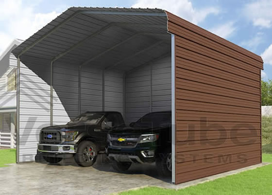 Versatube 3-Sided 20x20x12 Steel Carport Kit - Shown in Brown Color