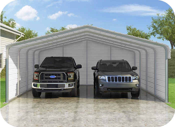 VersaTube 3-Sided 20x20x7 Classic Steel Carport Kit ...
