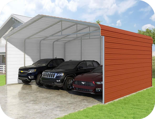 VersaTube 3-Sided 24x20x10 Classic Steel Carport Kit