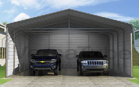 Versatube 3-Sided 24x20x10 Steel Carport Kit - 3 Covered Sides For The Ultimate Protection!