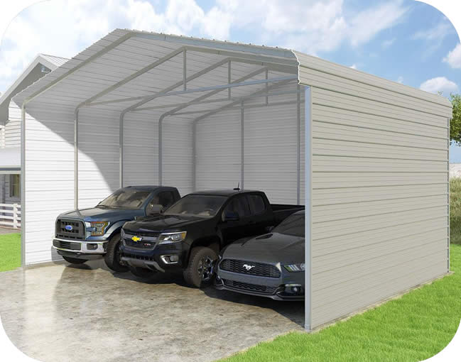 VersaTube 3-Sided 24x20x12 Classic Steel Carport Kit