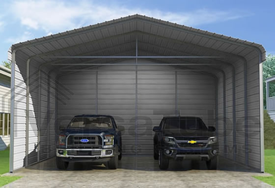 Versatube 3-Sided 24x20x12 Steel Carport Kit - 3 Covered Sides For The Ultimate Protection!