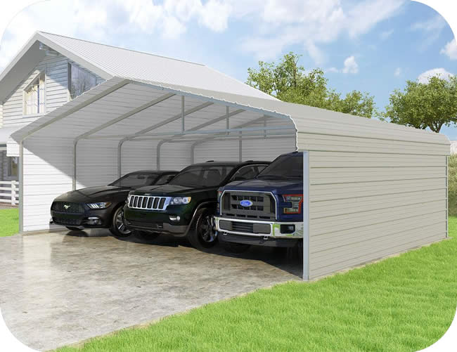 VersaTube 3-Sided 24x20x7 Clic Steel Carport Kit (C3E324200070) on back yard ponds, back yard shed plans, back yard courtyard ideas, back yard storage ideas, back yard corner lot ideas, back yard lounge ideas, back yard decks ideas, back yard bbq ideas, back yard hot tub ideas, back yard fountain ideas, back yard pergola ideas, back yard garden ideas, back yard fence ideas, back yard compost bin ideas, back yard spa ideas, back yard inground swimming pool ideas,