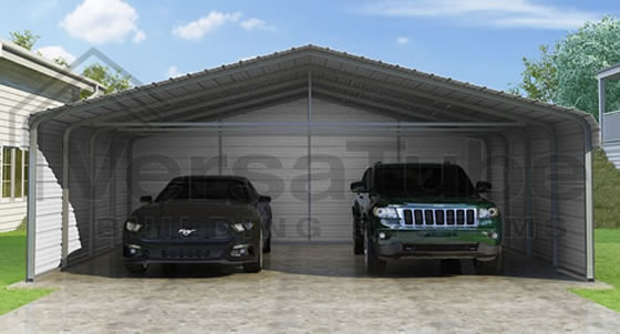 Versatube 3-Sided 20x20x12 Steel Carport Kit - 3 Covered Sides For The Ultimate Protection!