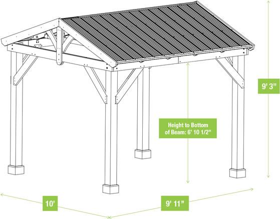 Yardistry 10x10 Meridian Pavilion YM11909 Measurements