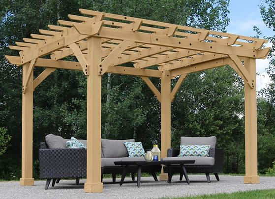 Yardistry 10x12 Meridian Cedar Pergola Kit assembled backyard