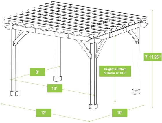 Yardistry 10x12 Meridian Pergola YM11921 Measurements Diagram