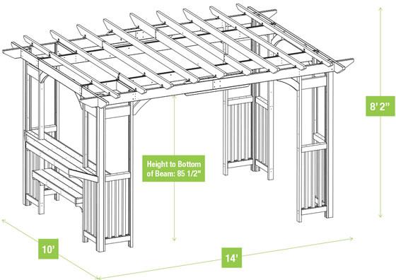 Yardistry 10x14 Madison Pergola YM11783 Measurements Diagram