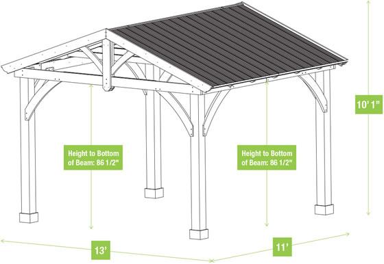 Yardistry 11x13 Carolina Cedar Pavilion Kit Measurements Diagram