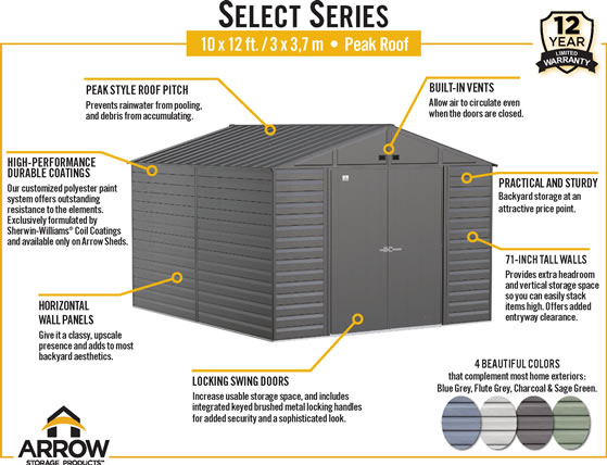 Arrow 10x12 Select Steel Shed Features & Benefits
