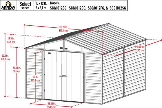 Arrow 10x12 Sage Green Select Steel Shed Kit Measurements Diagram