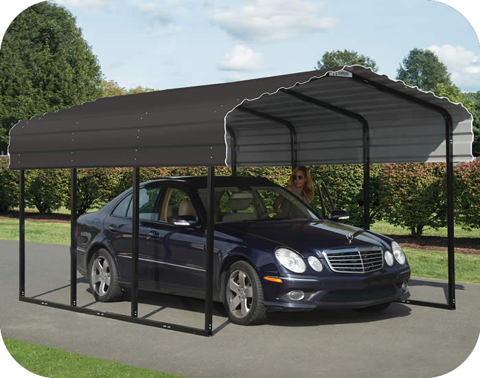 Arrow 10x29x7 Steel Auto Carport Kit - Charcoal