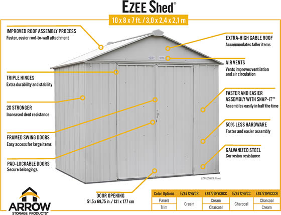 Arrow 10x8 Ezee Shed Charcoal & Cream - Features