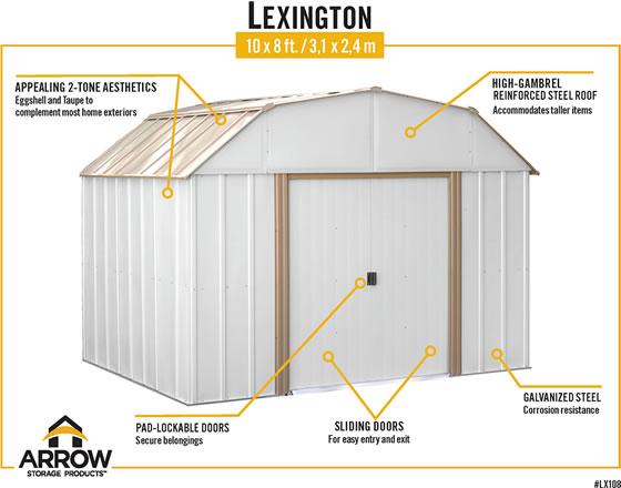Arrow Lexington 10x8 Shed Features Eggshell & Taupe Colors, Pad Lockable Sliding Doors & Galvanized Steel