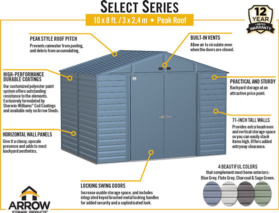 Arrow 10x8 Select Steel Shed Features & Benefits