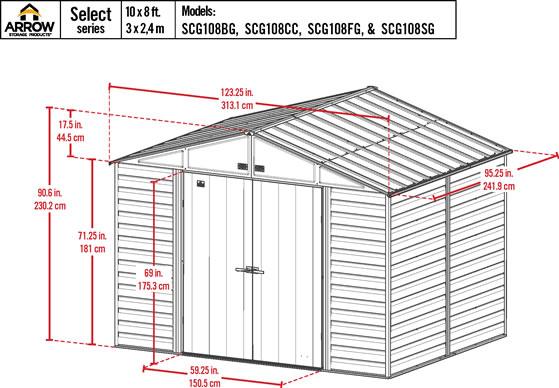 Arrow 10x8 Sage Green Select Steel Shed Kit Measurements Diagram