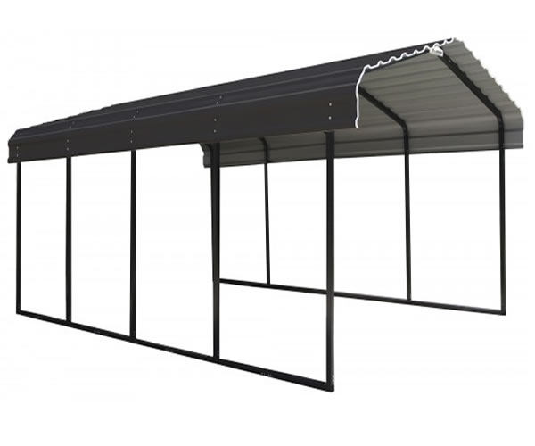 Arrow 12x24x7 Steel Auto Carport Kit - Charcoal