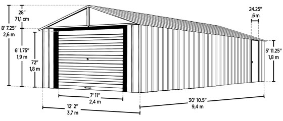 Arrow 12x31 Murryhill Garage Measurements Diagram