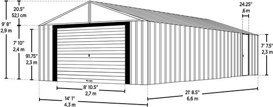 Arrow 14x21 Murryhill Garage Measurements Diagram