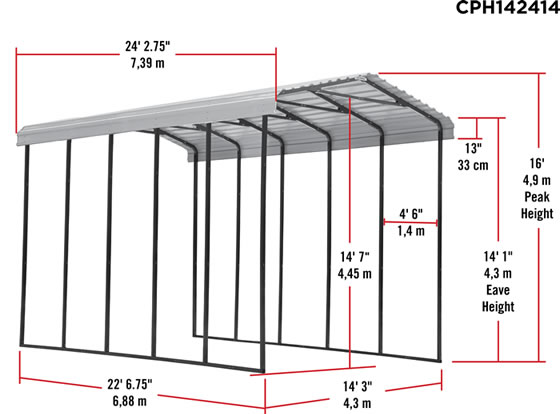 Arrow 14x24x14 RV Carport Measurements Diagram