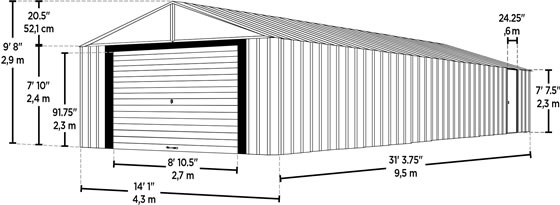 Arrow 14x31 Murryhill Garage Measurements Diagram