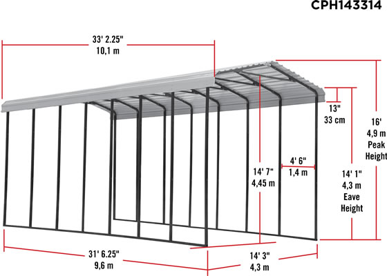 Arrow 14x33x14 RV Carport Measurements Diagram