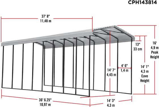 Arrow 14x38x14 RV Carport Measurements Diagram