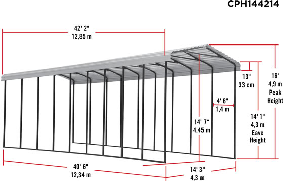 Arrow 14x42x14 RV Carport Measurements Diagram