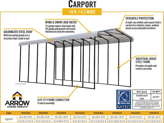 Arrow 14x42x14 RV Carport Specifications Diagram