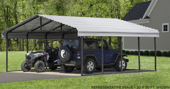 Excellent for use as a two car carport or for car and utv!