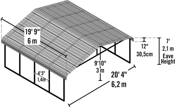 View all the measurements and dimensions of your new carport!