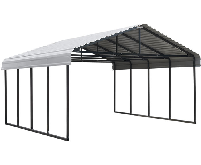 Arrow 20x20x7 Steel Auto Carport Kit - Eggshell