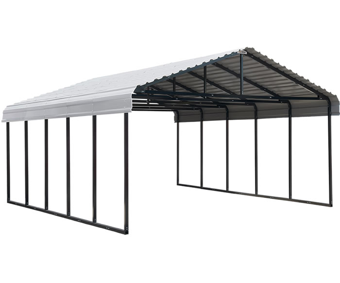 Arrow 20x24x7 Steel Auto Carport Kit - Eggshell