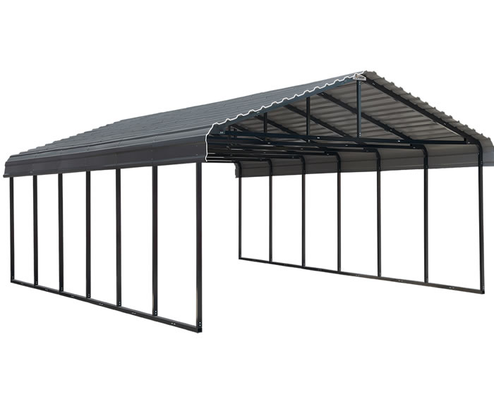 Arrow 20x29x7 Steel Auto Carport Kit - Charcoal