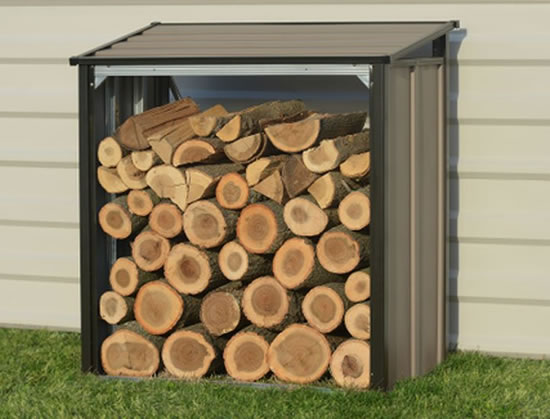 Arrow 4x2 Firewood Rack Kit 90175 shown with wood