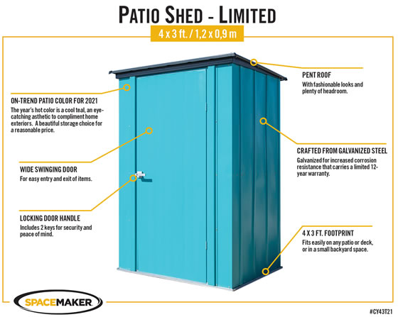 Arrow Teal 4x3 Spacemaker Patio Shed Kit Features & Benefits